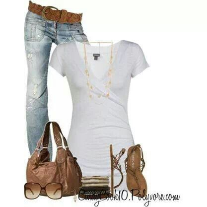 easy, casual, simple and cute outfit. Plain white tee with light wash denim  jeans. Brown bag and accessories.