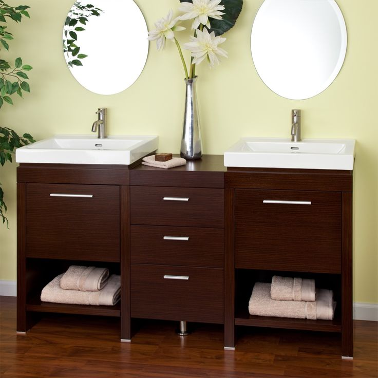 "59"" Dumont Double Sink Vanity - Wenge - Double Sink Vanities - Bathroom Vanities - Bathroom   $1664.95 w/sinks."