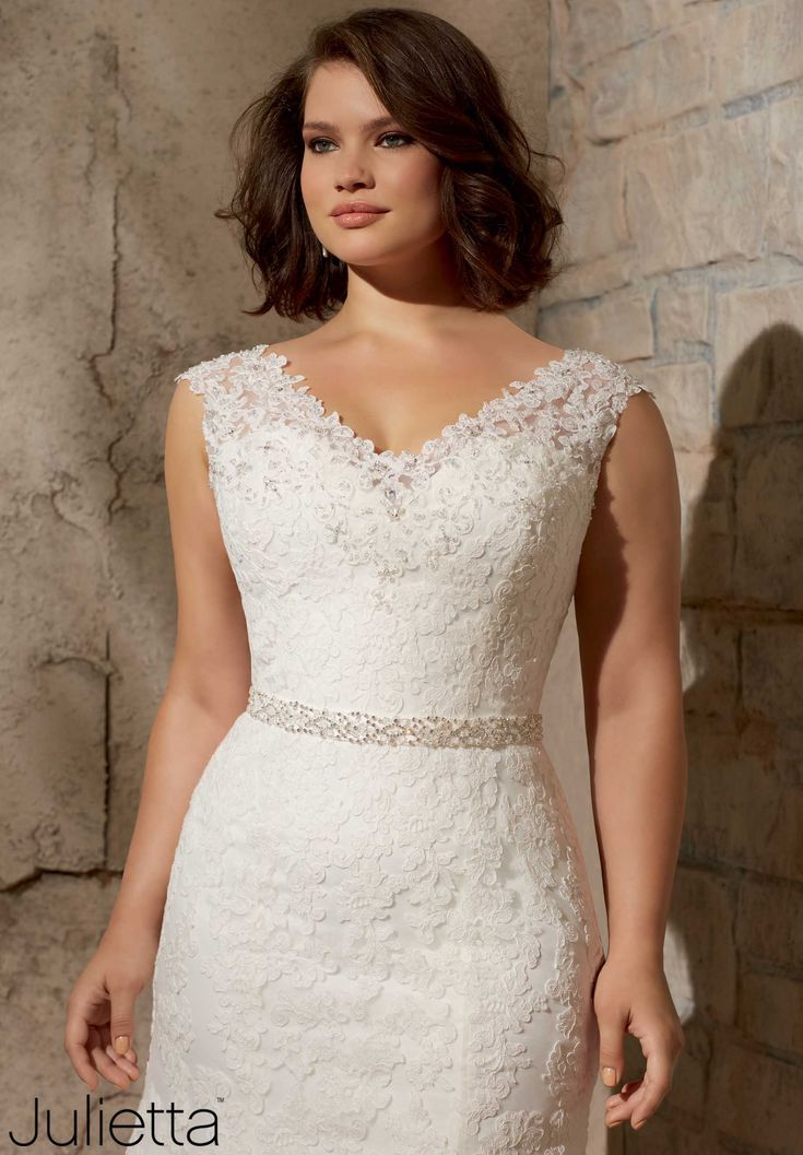 Fabulous Wedding Dresses and Bridal Gowns by Morilee designed by Madeline Gardner Alencon Lace Appliques on Net with Crystal Beading Plus Size Wedding Dress