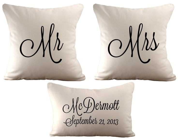 18x18 Mr & Mrs and a 12x18 Personalized  - Set of 3 Cushion Covers - Choose Your Text, Font Colour and Fabric by sarahsmiledesign on Etsy https://www.etsy.com/listing/166710096/18x18-mr-mrs-and-a-12x18-personalized