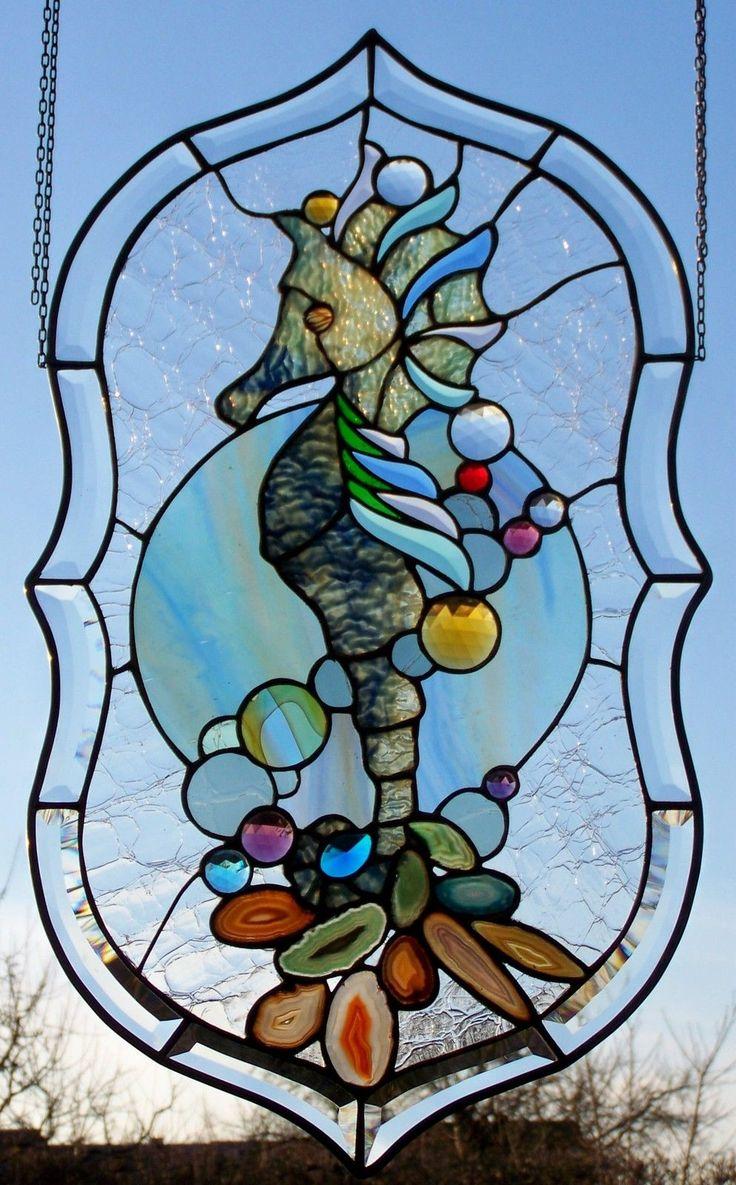 Stained Glass Window Screen Sea Horse Sea King Tiffany Technology | eBay