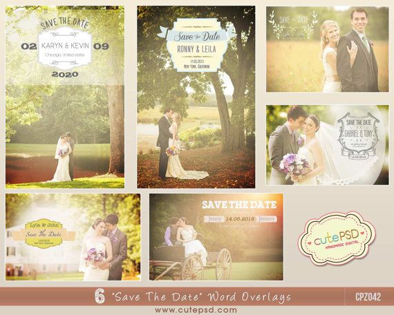 Instant Download  Save The Date Word Overlays  Set of 6 by CutePSD, $10.00