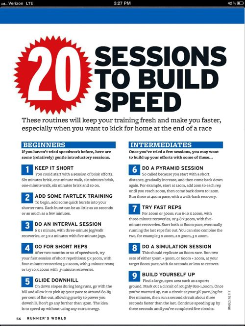 Speed Sessions/Building Speed via Hungry Runner Girl & Runner's World