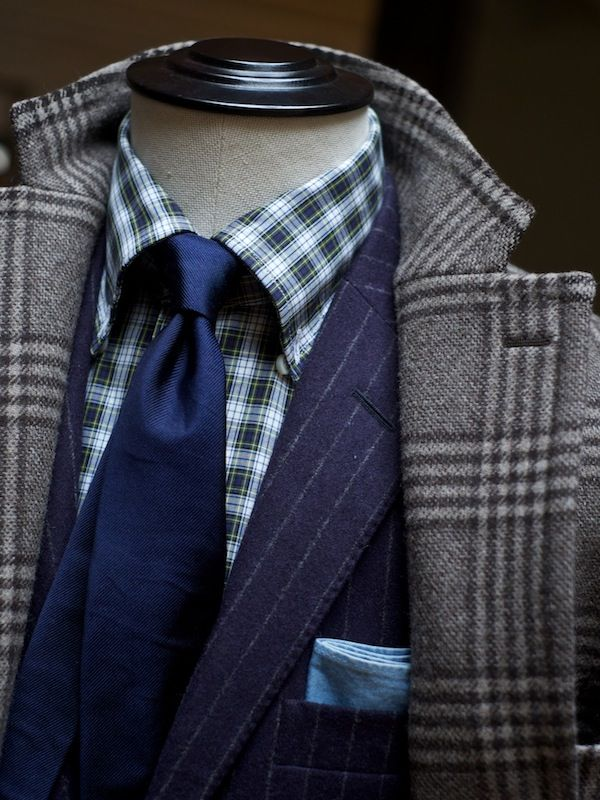 Glen plaid coat navy pin stripe suit blue check shirt for Navy suit checkered shirt