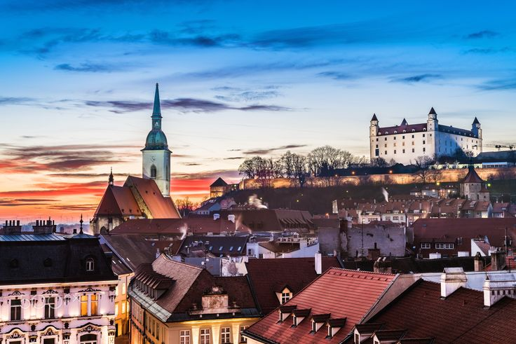 Two symbols - Two landmarks of Bratislava city in Slovakia: St. Martin's Cathedral and Bratislava castle.