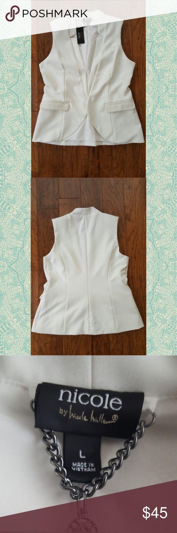 Nicole Miller Vest Off white vest with faux leather pockets, lining inside of vest Nicole Miller Other