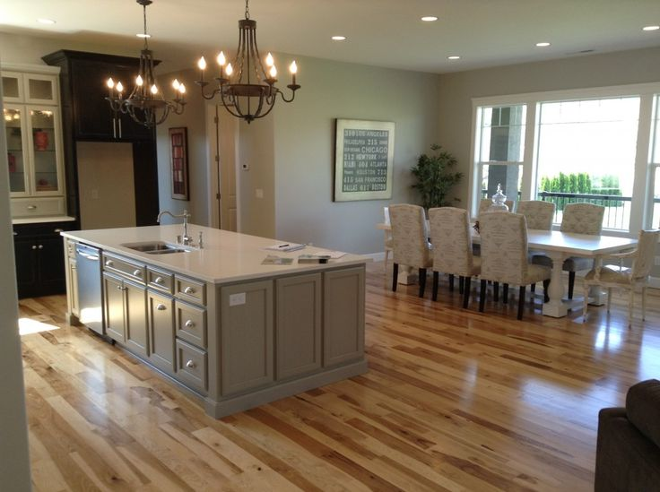 White Quartz Kitchen Countertop With Hickory Wood Floors