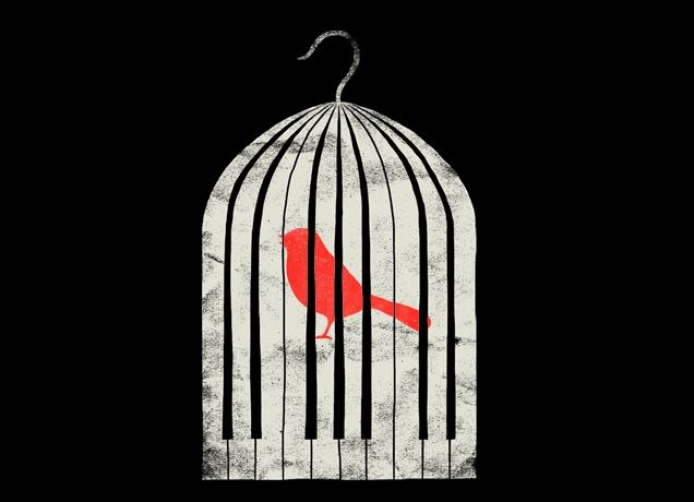How is it you sing? How can jubilate, never taking wing?: Freedom Heroes, Shots Threadlesscom, Artists Worldwid, Birds Cages, Heroes Shots, Songs Hye-Kyo, Finding Music, Piano Keys, Birds Tattoo Cages