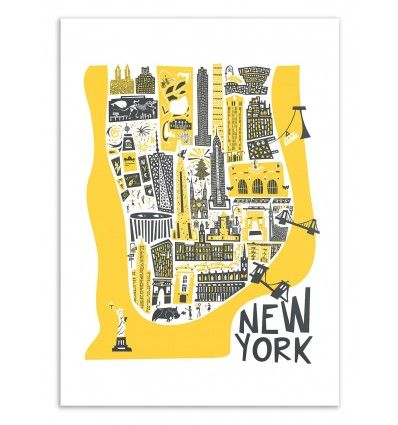 Art-Poster Travel, Country, City – New-York Map, by Fox and Velvet   – Illustraciones