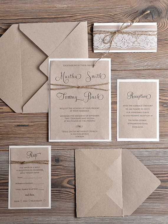 Custom listing for Katie 160 INVITATIONS + 160 ADDITIONAL cards Natural recycling paper Wedding Invitation