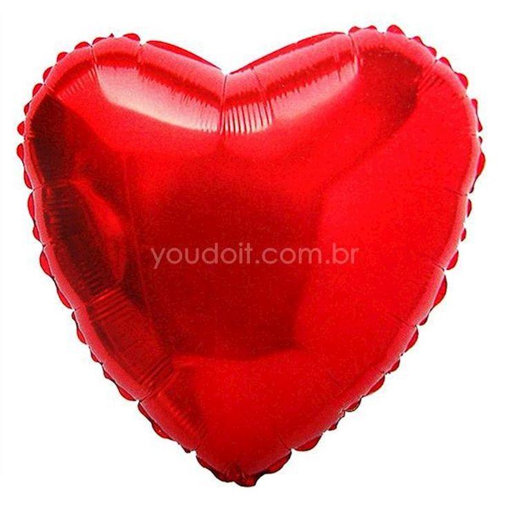 Balão Metalizado Coração Vermelho 20 pol.