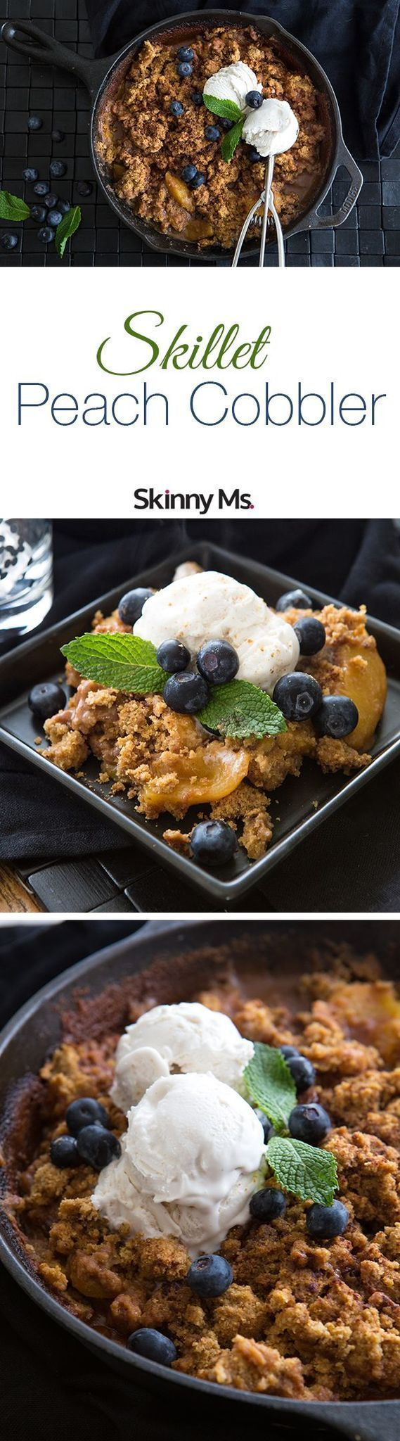 This Skinny Ms. Skillet Peach Cobbler is delectable! #SkinnyMs