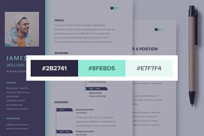 20 Stylish Resume Color Schemes In 2020 Color Schemes Schemes Resume