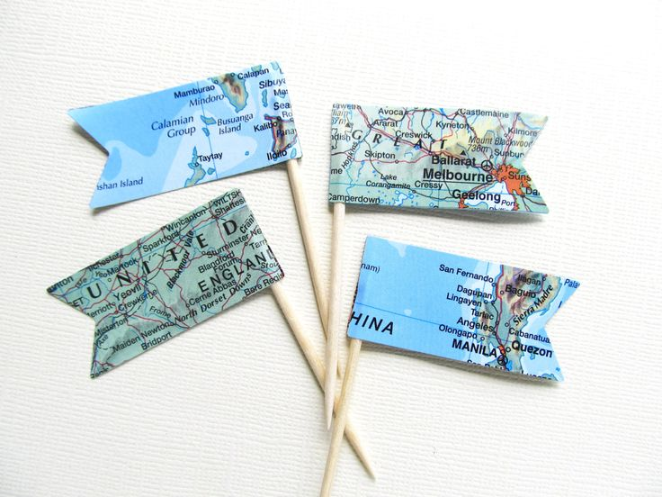 Vintage Map Pennant Flag Cupcake Toppers, Party Decor, Double-Sided, Travel Theme Weddings, Showers, Nautical, Set of 15 - pinned by pin4etsy.com