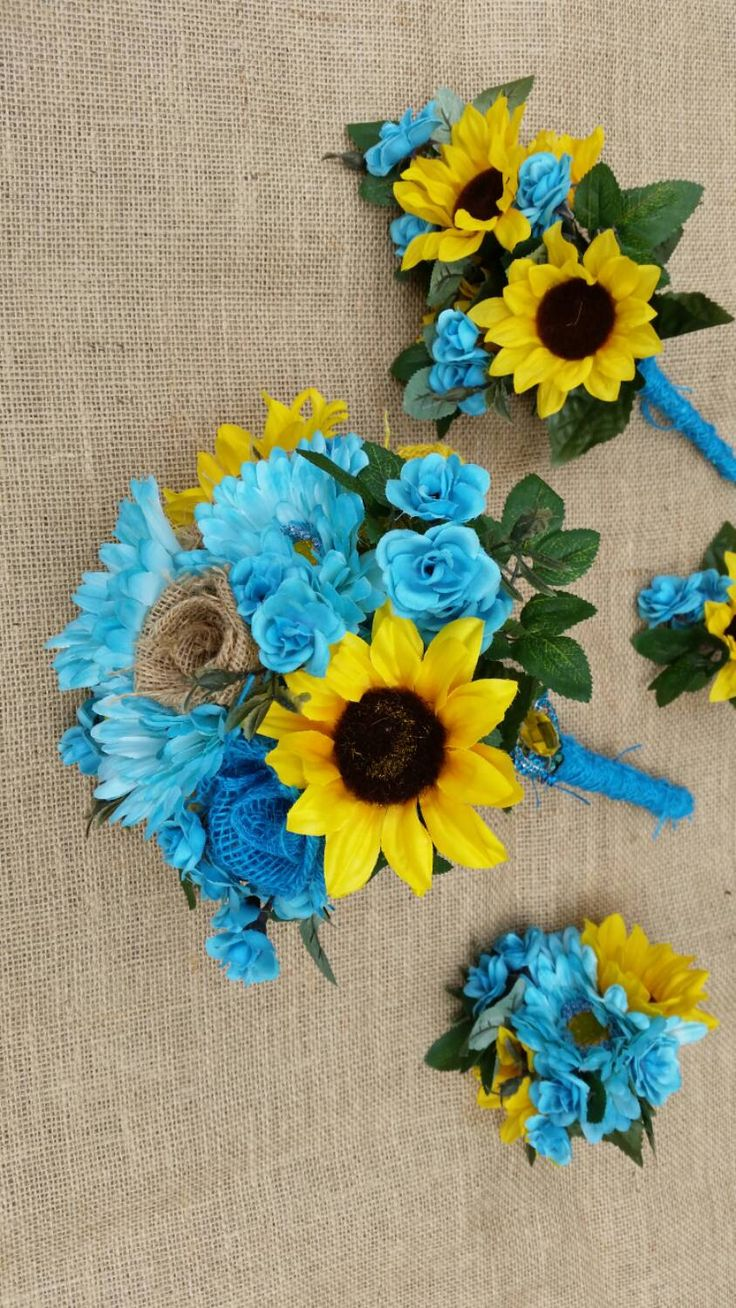 REDUCED Handmade burlap bridal bouquet set sunflower aqua blue brooch wedding rustic vintage country outdoors beach farmhouse summer 19pcs. by ANGIESZZZCRAFTS on Etsy