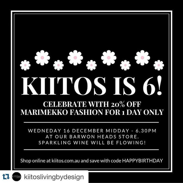 Today peeps! Clear you diaries and head to @kiitoslivingbydesign from midday onwards  #Repost @kiitoslivingbydesign  Kiitos is 6 !  Join us in store for a glass of bubbles and 20% off ALL full priced Marimekko fashion Barwon Heads store and online from 12-6:30   #marimekko #Aesop #karenwalker #muuto #saltwatersandals  #aguideto #aguidetobarwonheads #smallbusiness #shoplocal #livelovelocal #instagood #photography #ocean #beach #surf #fun #amazing #art  #barwonheads #oceangrove #bellarine…