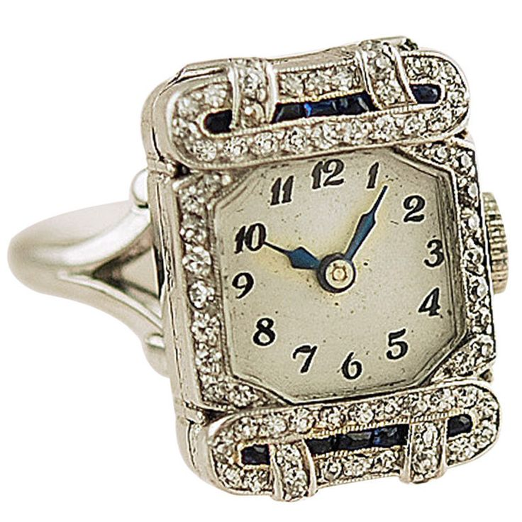 1920 Ring Watch, Set With Diamonds And Sapphires