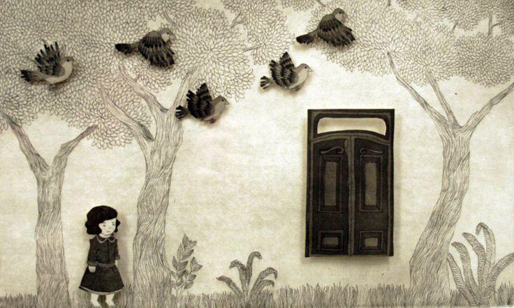Thais Beltrame / Tempestades São Pra se Abrigar / Gravura em metal sobre assemblage de papel (feita em chapa de cobre)  - 2013 -  27 x 39 cm
