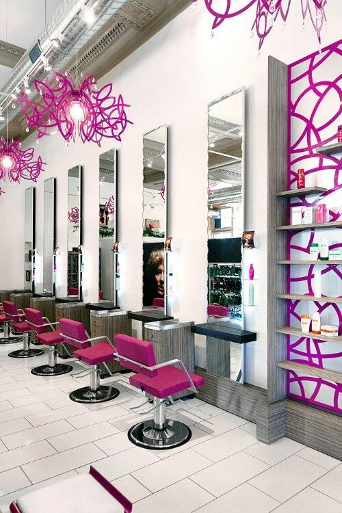 i love the accented hot purplepink colorhome hair salons designs idea - Salon Design Ideas