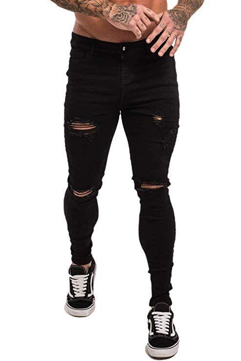 cd2a41581249e4 Mens Skinny Black Jeans Stretch Slim Fit Black Ripped Jeans Men #jeans # ripped #