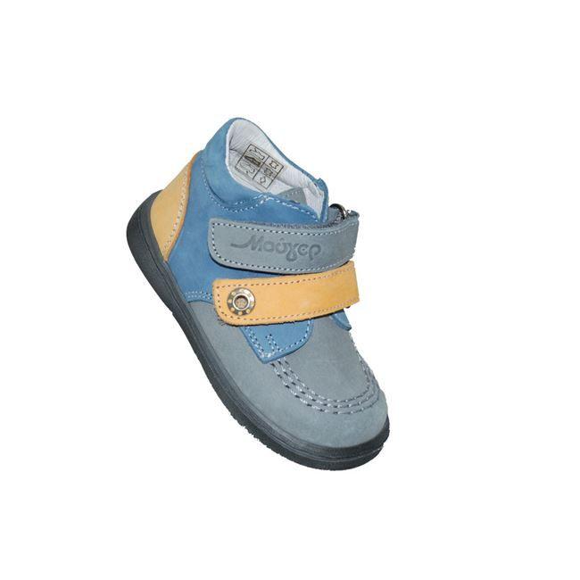 #baby #shoes Μποτάκι Μούγερ για τα πρώτα βήματα, από δέρμα σαμουά, γκρι-τζην, με αυτοκόλλητα κουμπώματα και ανατομικό πέλμα. www.mouyer.gr/paidika-papoutsia/botakia/mouger-3-botaki-prota-vimata-dermatino-samoua-se-ble-gkri-i-gkri-tzin_53567/