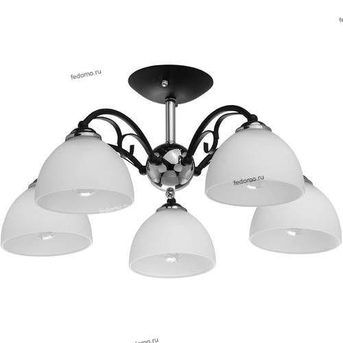 315013105 Люстра потолочная DeMarkt Блеск, 5 плафонов, черный с хромом, белый