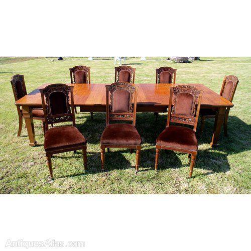 Set 8 Walnut High Back Art Nouveau Dining Chairs - Antiques Atlas