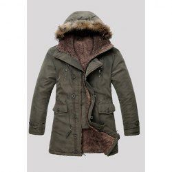 $25.85 Fashionable Faux Fur Embellished Hooded Solid Color Long Sleeves Thicken Coat For Men