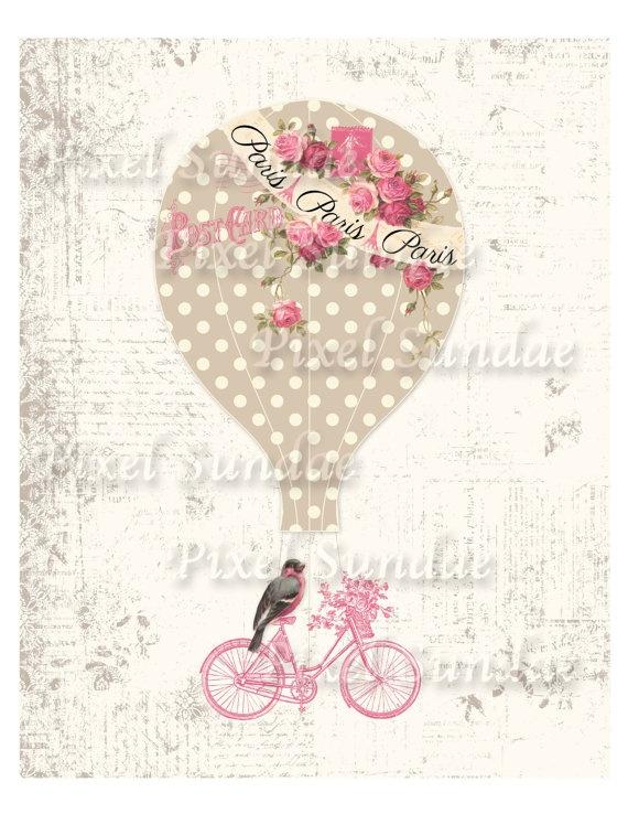 Shabby Chic Paris Hot Air Balloon 8 x 10  por MaBellePapeterie, $4.00