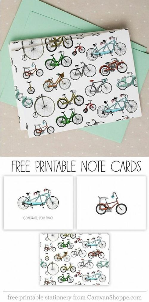 I know some of these are birthday cards and one is a little lovey but the blank ones with the cameras, books and the bicycles would be a great idea for fathers day! Head over to Caravan Shoppe to download your free notecards. Related