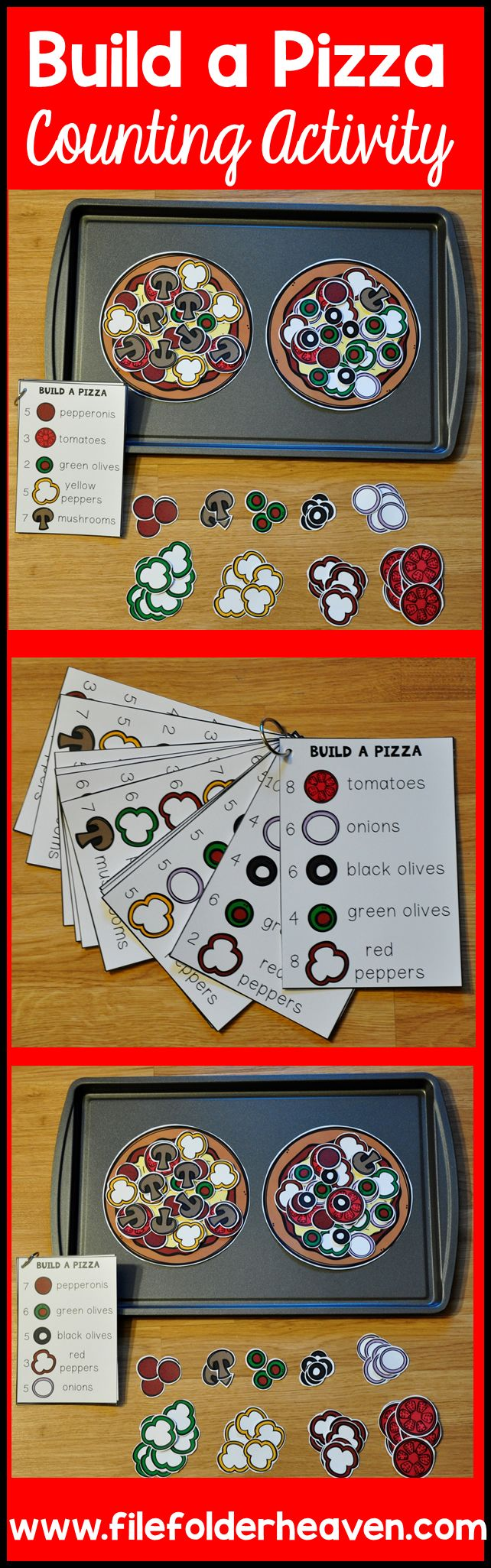 These Counting Activities:  Building Pizzas can be set up as cookie sheet activities, a magnet center, or math center. This set includes two pizzas, 12 build a pizza instruction cards, and lots of build a pizza building pieces (all in color).  In this act (Pizza Top Ideas)