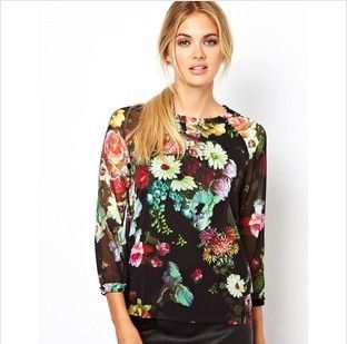 Spring 2014 women's uk retro fashion ink top chiffon blouse printing casual woman vintage Mature women clothing freeshipping $19.32