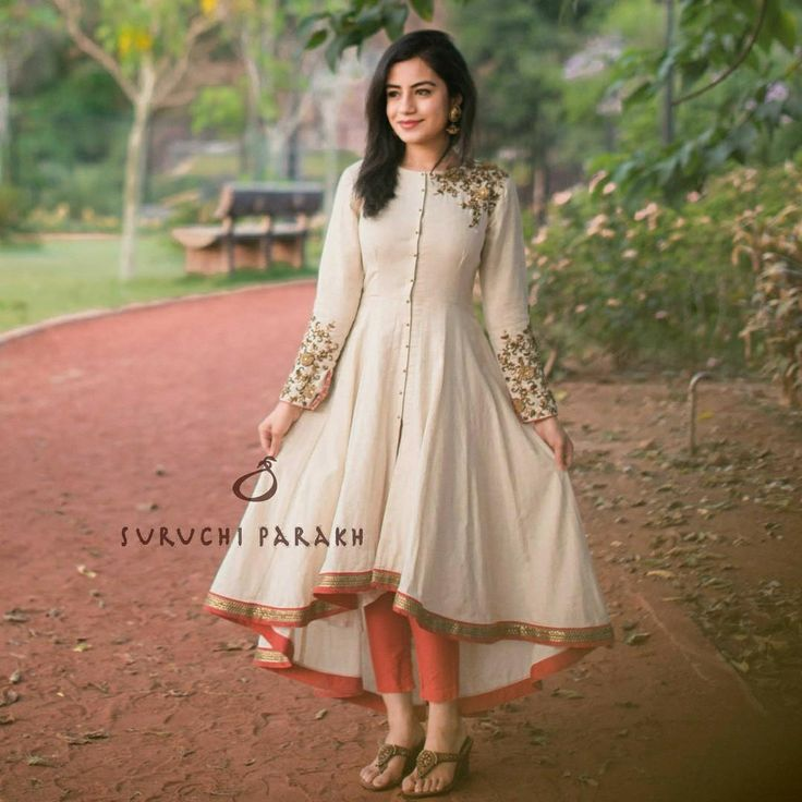 Beautiful asymmetric dress with full sleeves and hand embroidery thread work on sleeves from Suruchi Parakh. 30 June 2017