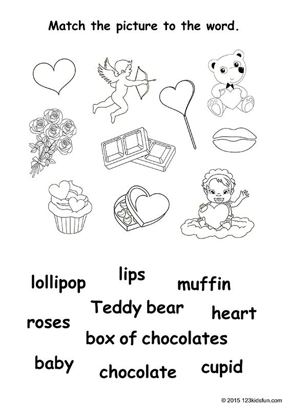 Valentine's Day - free worksheets and printables for kids. Match the picture to the word. #valentines #day #worksheets #printables #free #kids #coloring #123KidsFun