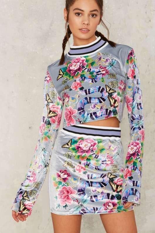 Jaded London Nature's Madness Velvet Skirt