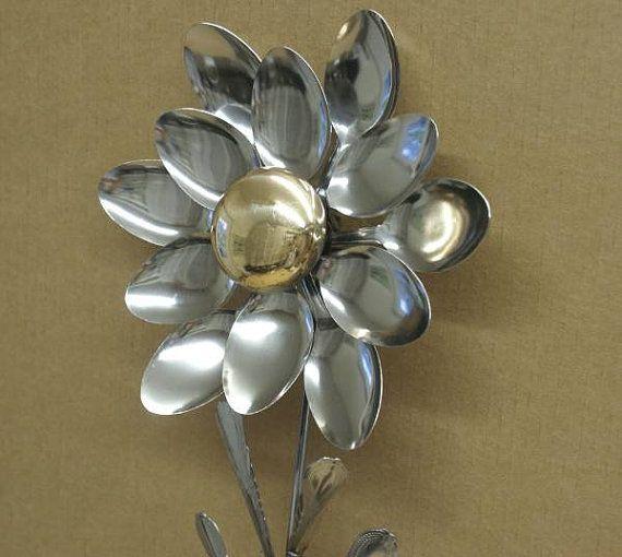 Garden Art Brass Door Knob Stainless Silverware Flower