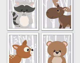Impresiones de animales del bosque bosque por RomeCreations en Etsy