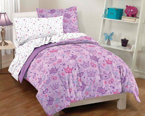 twin purple comforter set | Purple Princess Stars and Crowns 7 Piece Full Comforter Set ★ Twin ...