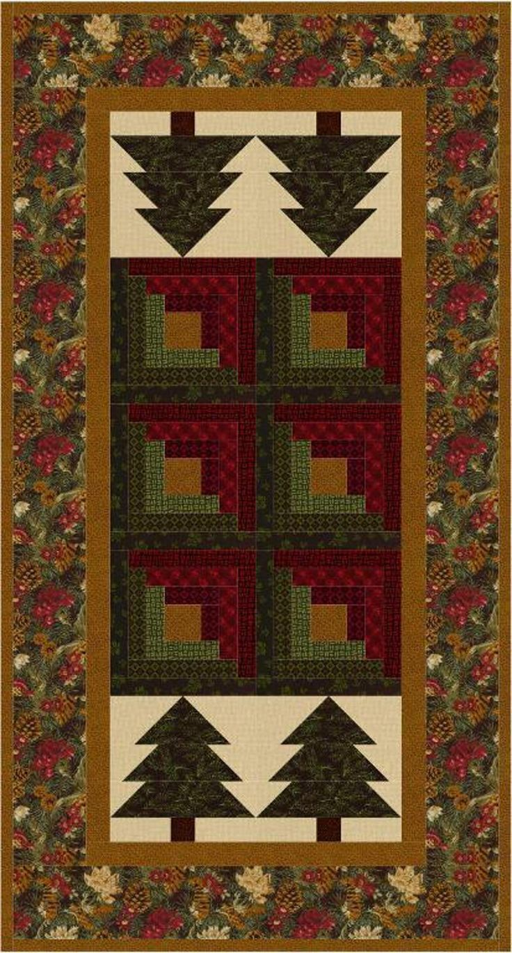 Log Cabin In The Pines Table Runner Quilting Quilted