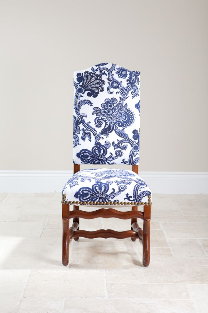 french side chair with blue and white fabric replace existing dining chairs