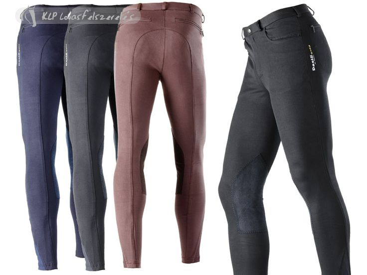 Orfeo mens breeches by Daslö Gold. Made of 65% cotton, 26% nylon, 9% spandex microfiber, 340 gr. With two front pockets, two jetted pockets, reinforced knee patches in suede, insert of stretchy fabric at the ankle. Daslö Gold by Tattini print on left leg.  Available from mid-January 2014.