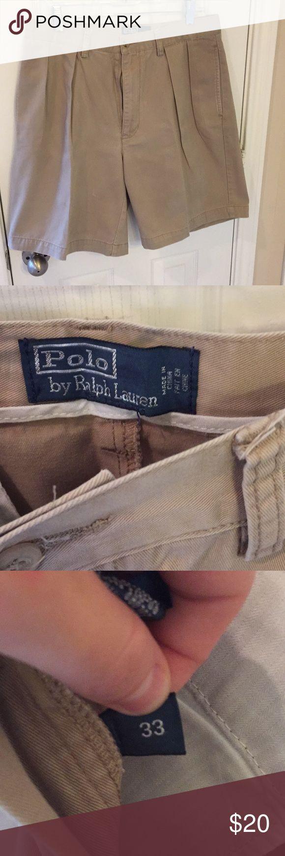 Ralph Lauren Polo men's khaki shorts size 33 Pleated front, khaki color, barely worn Polo by Ralph Lauren Shorts