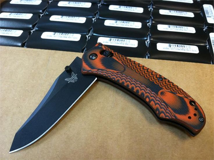 Benchmade 950BK-1401 Osborne AXIS Rift - Layered Black/Orange Textured G-10 Scales - CPM-S30V Plain Edge Blade BK1 Black - CUTLERY SHOPPE EXCLUSIVE