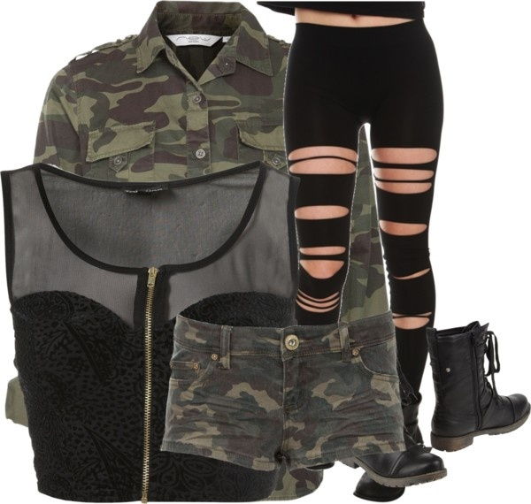 """army girl swag"" by jaida99 ❤ liked on Polyvore"