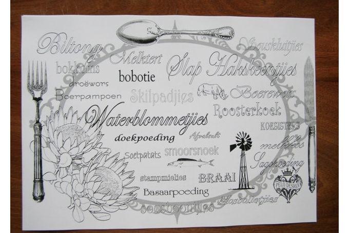 Disposable Paper Placemats -protea by Pelo Design