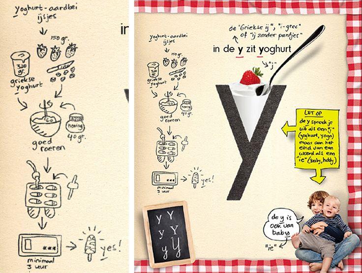 De y van yoghurtaardbei-ijsjes. Daar is het wel weer voor vandaag :-) Maak ze nu en einde middag heb je gezonde én lekkere ijsjes! Mjom mjom #letters #y #letterslereniseeneitje.nl