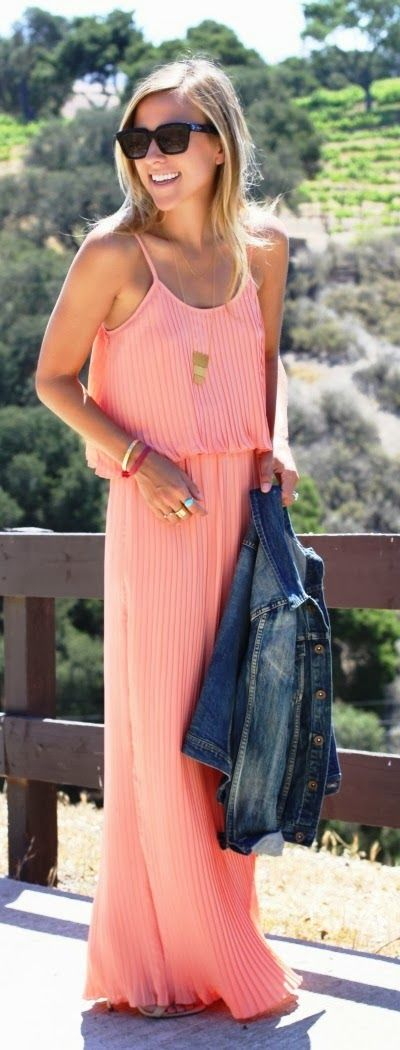Lovely pink maxi flowy dress fashion | FASHION WINDOW: Long Dresses, Outfits, Fashion, Style, Jeans Jackets, Denim Jackets, Coral Maxi Dresses, Summer, Pink Maxi Dresses