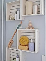 Shabby chic crates as bathroom shelves