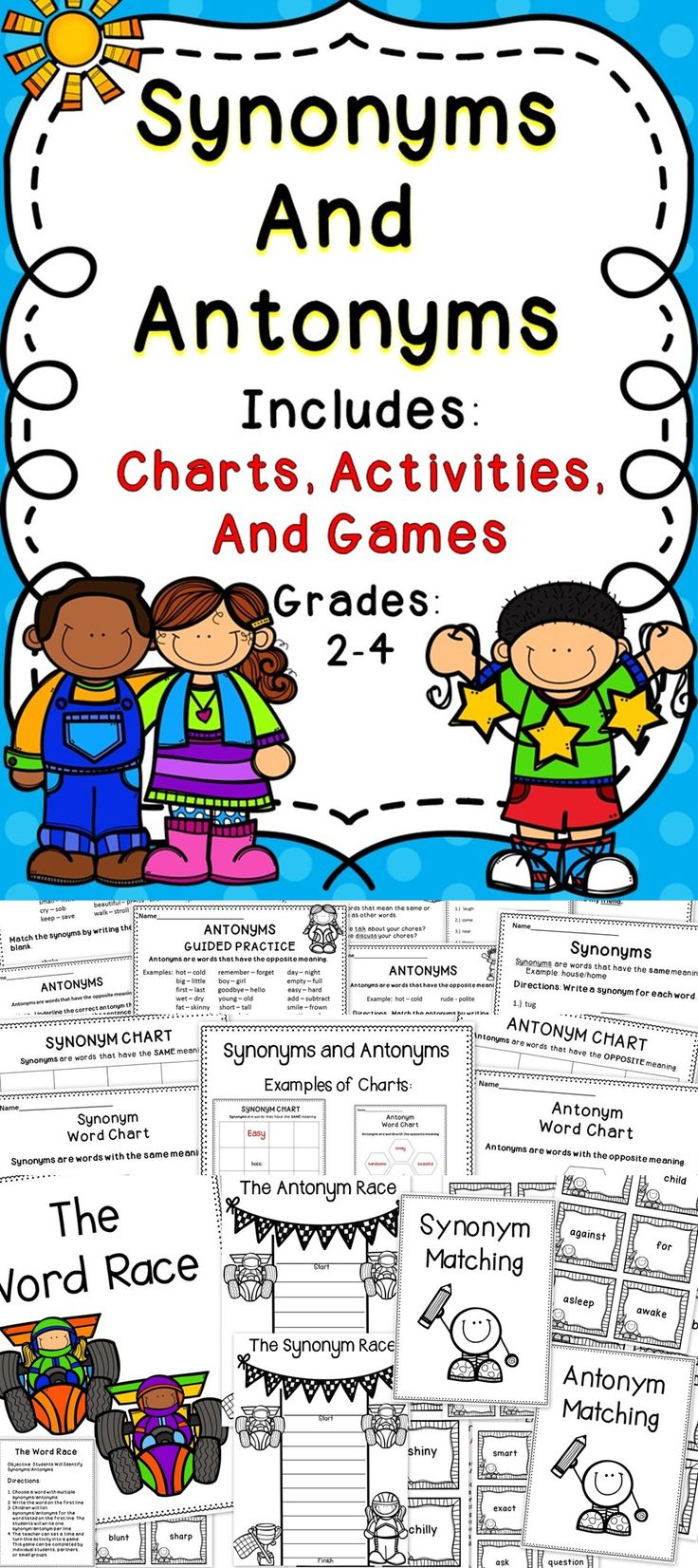 Synonyms and Antonyms Bundle Of Goodies - This is a huge bundle of activities to use with your students.  It includes response sheets, games,and charts! #education
