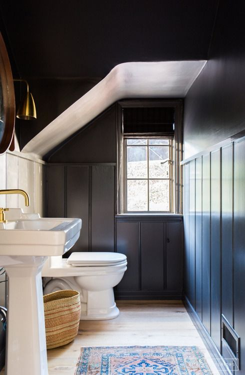 Attic Bath   Black Dark Painted Bathroom   Painted Wide Beadboard Bath   Country House Attic Bath